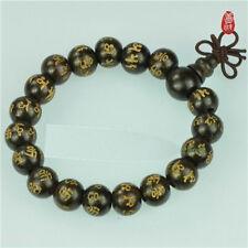 Tibetan 16 12mm Black Sandalwood Carved OM Mani Prayer Beads Mala Bracelet