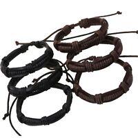 Genuine Leather Vintage Punk Bracelet Braided Bangle Handmade
