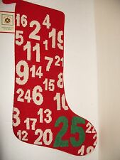 """NWT Dillards Jumbled  Countdown to Christmas Long 18"""" Red Needlepoint Stocking"""