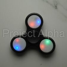 LED Tri-Fidget Spinners Rave Hand Disk ADHD/ADD -USA- Black