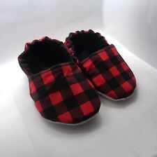 Buffalo Plaid Baby Moccasins, Red and Black Plaid Baby Shoes, Anti-slip Slippers