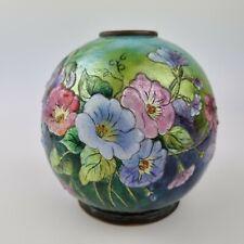 More details for rare vintage signed faure limoges enamel globular vase camille faure?