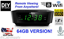 64GB Full HD 1080P WiFi Spy Camera Alarm Clock. Motion Detection Remote Viewing