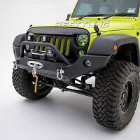 Rock Crawler Full Width Front Bumper+Built-Winch Plate for 07-18 Jeep Wrangler