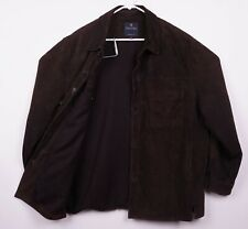 Brooks Brothers Men's Large Genuine Leather Suede Chocolate Brown Shirt Jacket