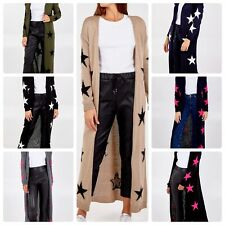 Ladies women's Italian star print draped cardigan open front edge to edge long