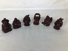 Set Of 6 Red Resin Lucky Buddhas (ref T586)