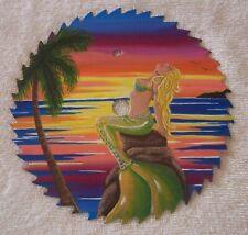 Saw Blade Metal Art HAND PAINTED Sun bathing Mermaid Palm Tree 8 inch GIFT OOAK