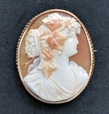 Antique Victorian Shell Cameo 9ct Gold Brooch Pin Beautiful Maenad.