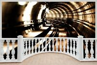 Huge 3D Balcony Train Tunnel Wall Stickers Mural Wallpaper 131