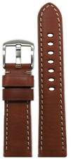 22mm Panatime Rou HZ Leather Watch Band with White Stitching 22/20 125/75