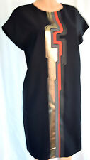 FENDI  BLACK FRONT HORIZONTAL GOLD/RED/GRAY DETAIL CUP EEVELESS DRESS SIZE 46