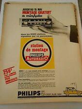PUB Philips Autoradio station de montage Advert Print 1966