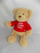 "Gund Bear Hugs God Bless You Teddy Bear 12"" Plush Stuffed Toy Red Hoodie"