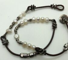 Silpada N1063 Sterling Silver 925 Button Leather Pearl Necklace Brown Bead $62