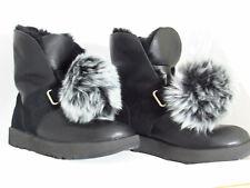 UGG Australia Isley Womens Waterproof Black Leather Fur Pom Pom Boots Size 5.5