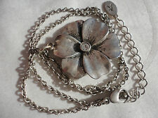 """Silverplated signed Accessorize bezel crystal flower pendant 9 gram 17"""" necklace"""