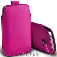 HOT PINK (PU) LEATHER PULL TAB POUCH CASE FOR DORO PHONE EASY 508 MOBILES