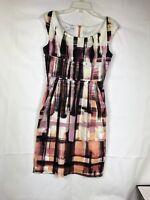 Maggy London Women's Dress Size 6 Sleeveless Cotton Blend Black White Orange 03