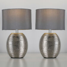 Pair of Modern Ceramic Chrome Bedside Table Lounge Lamps with Grey Shades + Bulb