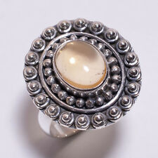 925 Sterling Silver Ring Size US 6.75, Natural Citrine Gemstone Jewelry CR3275