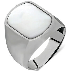 Solid 925 Sterling Silver Gemstone Men's Ring with Mother of Pearl Stone