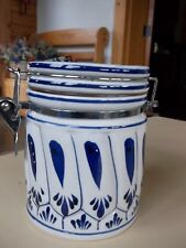 """Blue and White Spring Closure 5"""" Tall Kitchen Canister"""