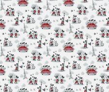 Disney Mickey & Minnie Vintage Romance Paris 100% Cotton Fabric By The Yard