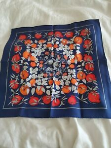 Hermes small scarf- pochette, gavroche rare Faivre design- Jardins d'Eden