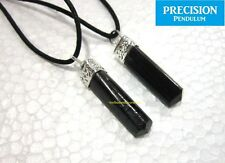 Black Tourmaline Point Crystal Gemstone Precision Pendulum Pendant Necklace