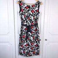 Laura Ashley Black Floral Linen Shift Dress Size 10 BNWOT Summer Wedding