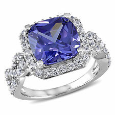 Amour Sterling Silver Created White Sapphire and Tanzanite Cocktail Ring