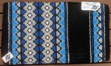 "Western Wool Show Saddle Blanket-Custom-34""x40""-Black-Blue-Cream-Silver Metallic"