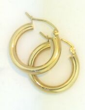 "14K Yellow Gold 3 mm Round Hollow Hoop Earrings Snap Closure 0.7"" inches 1.4 gr"