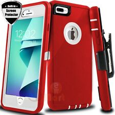 For iPhone 6 6s 7 8 Plus Shockproof Case Cover With Belt Clip + Screen Protector