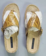 RALPH LAUREN BESSI NATURAL PYTHON & JUTE THONG SANDALS SIZE 11B MADE IN ITALY