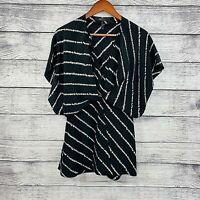 BCBGMAXAZRIA 100% Silk Black V Neck Layered Draped Sleeve Blouse Top SZ S