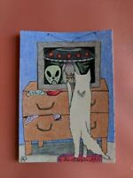 Original OOAK Drawing ACEO Art Card 2.5 x 3.5 Signed Cat watching Aliens on Tv
