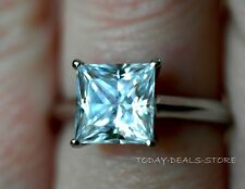 Solitaire Engagement Ring 14k Anniversary Princess Cut White Real Gold 1.75 ctw