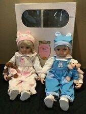 "Lot 2 Kathy Smith Fitzpatrick 21"" twin baby dolls boy girl teddy bear, box, COA"