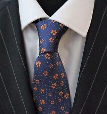 Tie Neck tie with Handkerchief Blue with Orange Floral