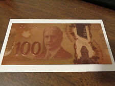 Canadian $100 One Hundred Dollars Banknote 24k Pure Gold with Sleeve