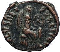 AELIA FLACILLA Theodosius I Wife 383AD Ancient Roman Coin VICTORY CHI-RHO i69932