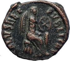 Aelia flacilla Teodosio I esposa 383AD antigua moneda romana victoria Chi-rho i69932