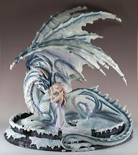 """Girl With White Dragon Large Scale Figurine 18"""" Long Resin New In Box - Retired"""