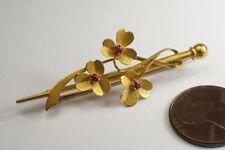 Ruby Trefoil Bar Brooch c1900 V Pretty Antique English 15L Gold