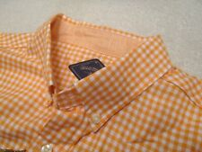 Bills Khakis Linen Cotton Blend Orange Gingham Check Sport Shirt NWT Large $155