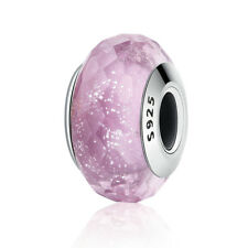 European 925 sterling silver Pink Shimmer Murano Glass Bead Aspect DIY Jewlery