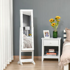 LED Mirrored Jewelry Cabinet Floor Standing Organizer Angle Adjustable