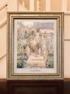 Antique Painting The Artist's Garden At Vetheuil Claude Monet Print Framed